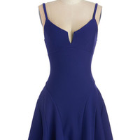 ModCloth Mid-length Spaghetti Straps Drop Waist Why So Blue? Dress