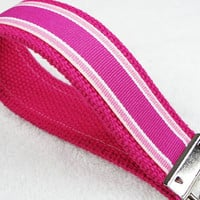 Keychain Wristlet Keyfob Keylette Key Ring - Stripes Striped Grosgrain Ribbon Webbing Pink Party Favor Gift - Porte-cls - Ready to ship