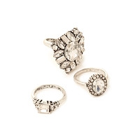 FOREVER 21 Faux Gemstone Midi Ring Set Silver/Clear