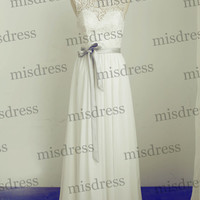 Modest Lace Chiffon Wedding Dress Scoop Neckline Long Bridesmaid Dress Prom Dress with Silver Sash