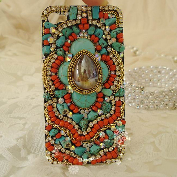 Custom Handmade Vintage Bohemia Style iPhone case , iPhone 4s case, iPhone 4 case Hard iPhone Case Cover