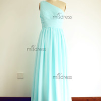 Mint Blue One Shoulder Chiffon Long Full Floor Length Bridesmaid Dress Bridal Party Dress for Wedding