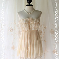Sunshine Day Dream - Soft French Cream Pastel Toned Silk Chiffon Pleated With Matching Lacy Top Halter And Strapless Long Tunic