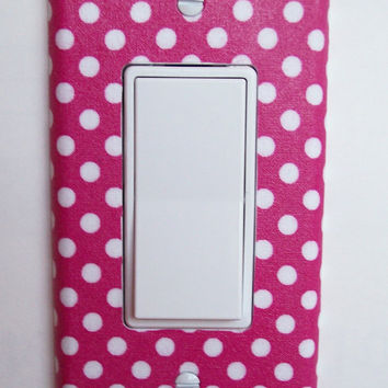 Pink & White Polka Dot Single Rocker / GFI Switchplate Switch Plate