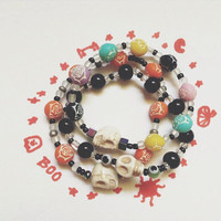 White Skull Day of the dead Bracelets . FREE U.S SHIPING. one size fits all, Perfect for halloween and everyday outfits!