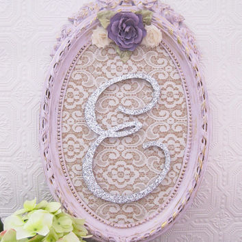 Lavender and Silver Baby Girl Nursery Decor Wooden Nursery Letters Shabby Chic Nursery Hanging Wall Letters