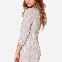 Electric Waves Taupe and Ivory Sequin Dress