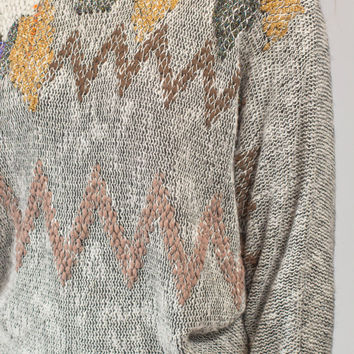 Gray sequin batwing sweater chevron design 80s glam