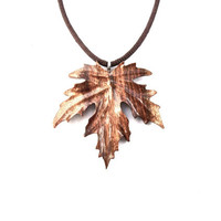 Wooden Leaf Pendant, Carved Leaf Pendant, Wooden Leaf Necklace, Leaf Necklace, Wood Jewelry, Wood Pendant, Leaf Jewelry, Wood Carved Pendant