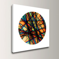 "Geometric Art on Canvas - 20x20 Giclee Print  - Orange, Blue, Green, Black, White - Modern Art - ""Beams 3"""