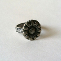Daisy Flower Ring, Adjustable Ring, Sunflower, Moon Flower