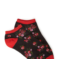 FOREVER 21 Ditsy Floral Socks Black/Red One