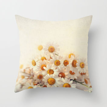 daisies on a stool Throw Pillow by Sylvia Cook Photography