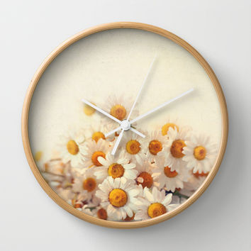 daisies on a stool Wall Clock by Sylvia Cook Photography