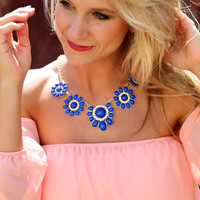 Gold + Cobalt Necklace - Cobalt/Gold Necklace