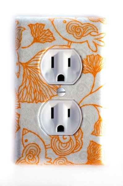 Mod Orange Birds &amp; Ginkgo Leaves Outlet Plate