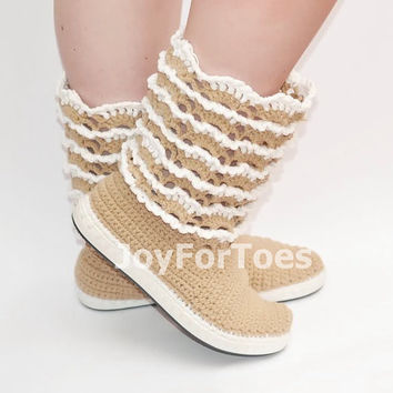 Lace Crochet Boots Cappuccino Color for the Street Outdoor Shoes Boots Made to Order Ready to ship