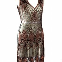 The Vamp Black Copper Amanda Palmer Dress : Beaded 1920's Style Gowns, Art Deco Gowns, 20's Flapper Fringe Dresses, Vintage Daywear, Hollywood Reproductions..... from LeLuxe Clothing