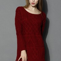 Cable Knit Sweater Dress in Wine Red S/M