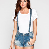 HIPPIE LAUNDRY Womens Suspendered Denim Shorts 234039824 | Overalls