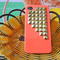 iPhone 4 4S hard Case Cover with golden pyramid stud For Apple iPhone 4 Case, iPhone 4s Case, iPhone 4GS Case ,iPhone hand case cover  -057