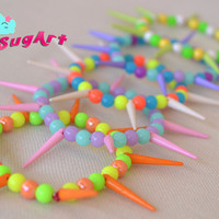 Set of 5 - Colorful Beaded Summer Bracelets - Handmade by PinkSugArt