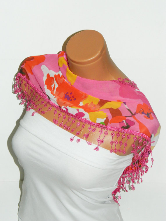 Personalized Design Pink Multicolor Scarf. Turkish Fabric Fringed Guipure Scarf ..bandana,headband,wedding,bridal,authentic, romantic