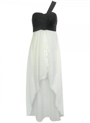 Black and White One Shoulder Contrast Frill Dress