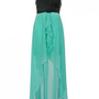 Black and Aqua One Shoulder Contrast Frill Dress