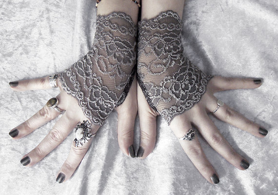 Narquelie Lace Fingerless Glove Mittens - Dark Charcoal Grey Silver Floral Fishnet - Gothic Vampire Victorian Wedding Fetish Goth Bridal