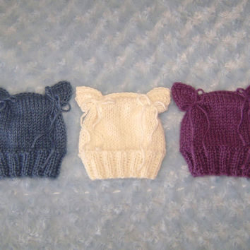 Knitted Little Kitten Baby Hat, baby boy hat, baby girl hat, newborn beanie