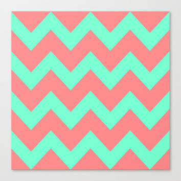 Chevron Coral Red Mint Green Canvas Print by Beautiful Homes
