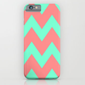 Chevron Coral Red Mint Green iPhone & iPod Case by Beautiful Homes