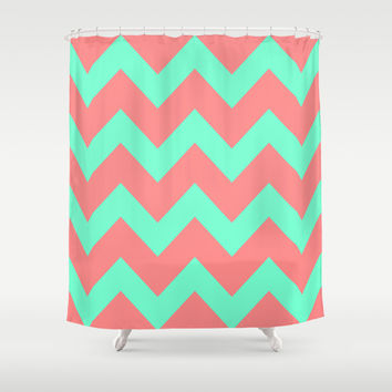 Chevron Coral Red Mint Green Shower Curtain by Beautiful Homes