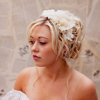 Wedding Hair Accessories- Champagne wedding hair piece -  Bridal flower headpiece   - vintage wedding