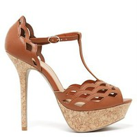 A'GACI Felina-01 Laser Cut T Strap Cork Plat - Shoes