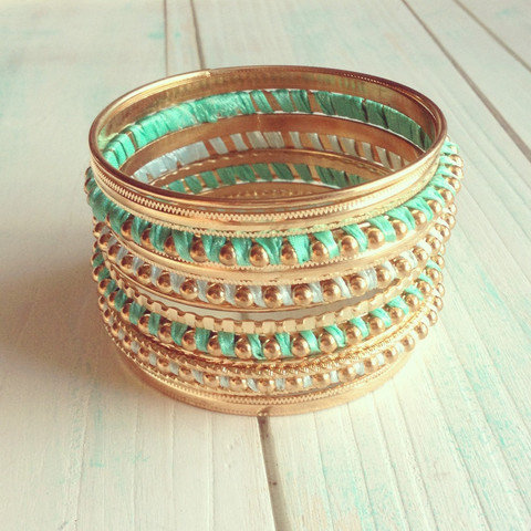 Pree Brulee - Mint London Bangle Set