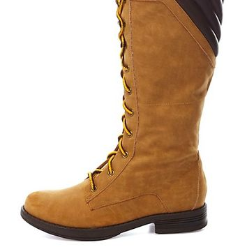 Lace-Up Mid-Calf Work Boots by Charlotte Russe - Camel