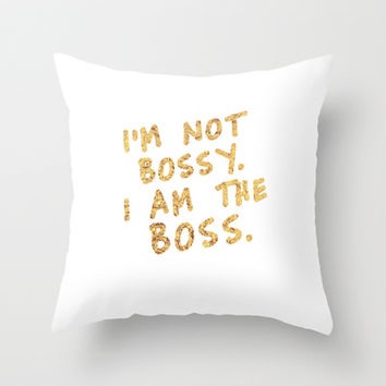 BOSS Throw Pillow by Michaela Ramstedt
