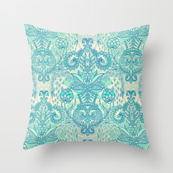 Botanical Geometry - nature pattern in blue, mint green & cream Throw Pillow by micklyn