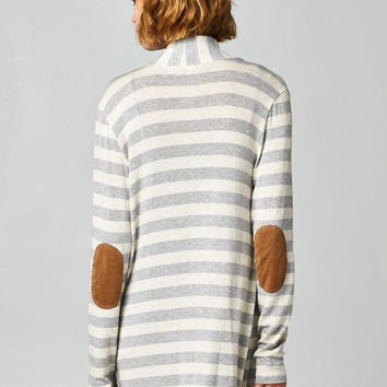 Heather Gray Striped Elbow Patch Cardigan