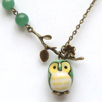 Antiqued Brass Branch Jade Porcelain Owl Necklace