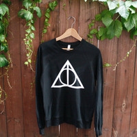 Unisex Deathly Hallows Harry Potter Sweater - Choose Size - MADE TO ORDER - American Apparel