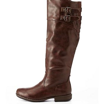 Bamboo Belted Riding Boots by Charlotte Russe - Brown