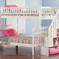 Natalie Marie White Twin over Full Stairway Bed