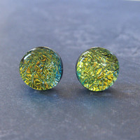 Dichroic Yellow Earrings | Stud Earrings | Hypoallergenic Jewelry | Golden Yellow - Starlight - 2307 -4