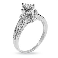 1/6 CT. T.W. Diamond Promise Ring in 10K White Gold