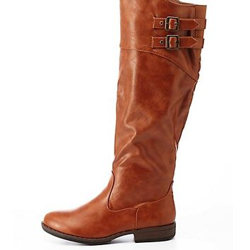 Bamboo Belted Riding Boots by Charlotte Russe - Chestnut