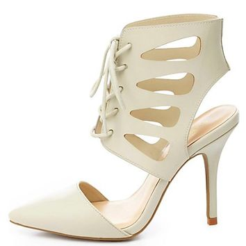 Cut-Out Lace-Up Pointed Toe Heels by Charlotte Russe - Off White