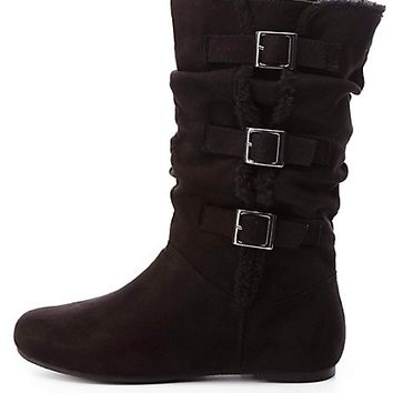 Faux Fur Trim Mid-Calf Boots by Charlotte Russe - Black